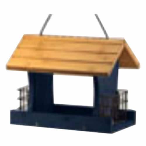 12 in. Wood Bird Feeder, Blue Perspective: front