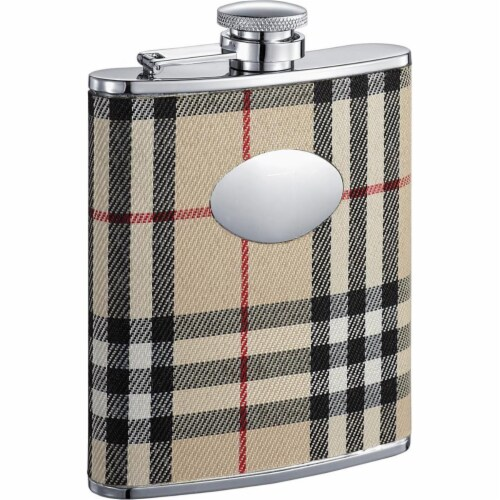 Gabriella Plaid Wrapped Stainless Steel Liquor Flask - 6oz Perspective: front