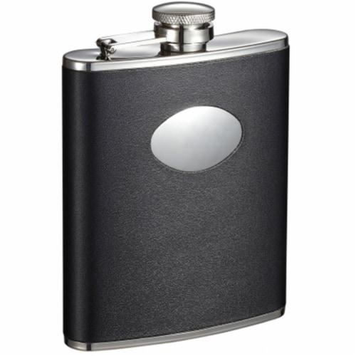 Montego Black Leather Liquor Flask - 6 oz Perspective: front