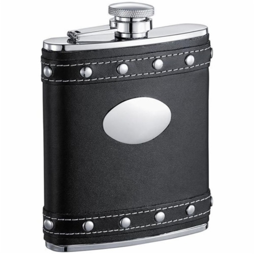 Rocker Black Leather Liquor Flask With Studs - 6oz Perspective: front