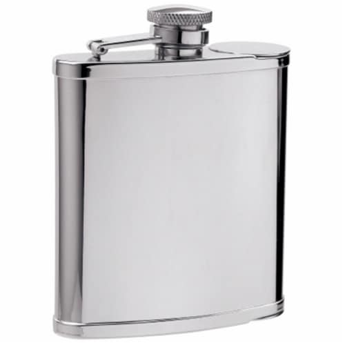 Two Shot Cups in Flask - 6 oz -2 built in shot cups Perspective: front
