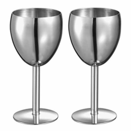Antoinette Stainless Steel Wine Glass - Set of 2 Perspective: front