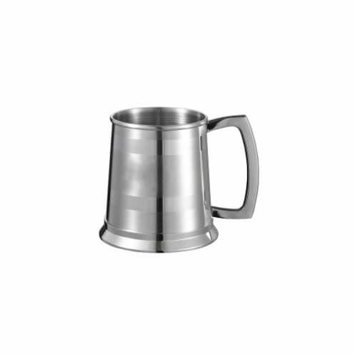 Dual Polished Stripes on Satin 16 oz Beer Mug with Steel Bottom Perspective: front