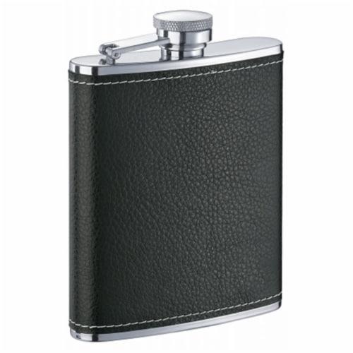 Eclipse S Black Leather Liquor Flask - 6 oz Perspective: front
