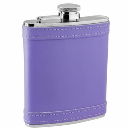 Lave Lavender Leather Stainless Steel Liquor Flask - 6 oz Perspective: front