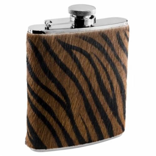 Tiger Fur Pattern Liquor flask - 6 oz Perspective: front