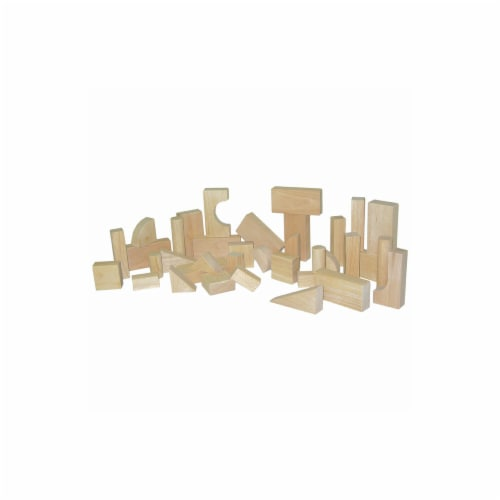 Hard Maple Blocks - Toddler Set With 13 Shapes And 36 Pieces Perspective: front