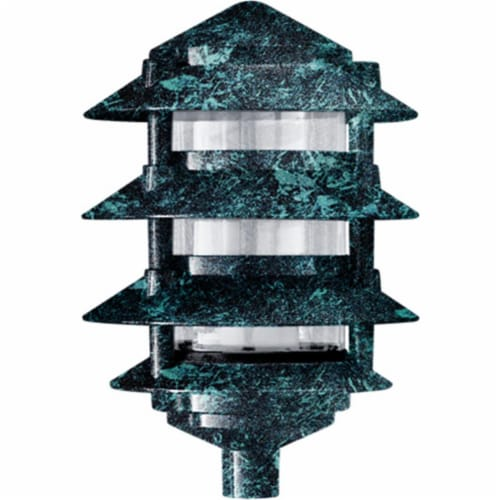 Cast Aluminum Four Tier Pagoda Light, Verde Green Perspective: front