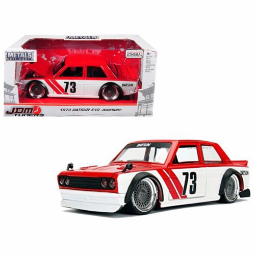 1 isto 24 1973 Datsun 510 Widebody No. 73 JDM Tuners Diecast Model Car, Red Perspective: front
