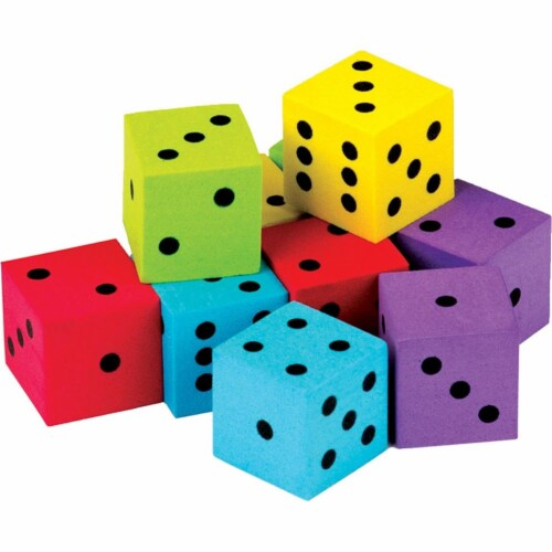 Foam Colorful Dice - Pack of 20 Perspective: front