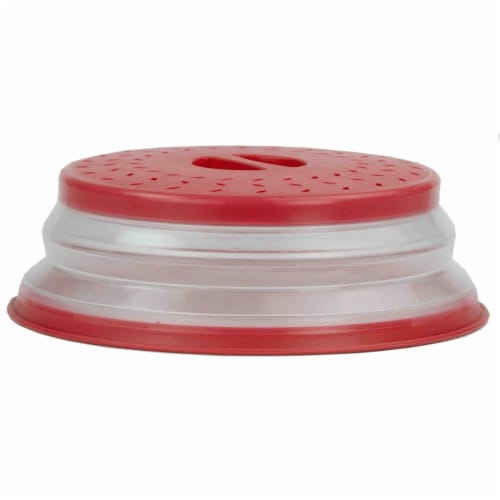 Collapsible Strainer & Microwave Plate with Cover - Red Perspective: front