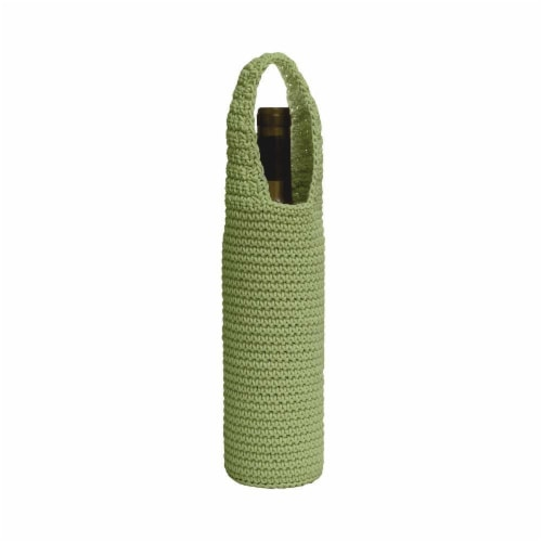 Mode Crochet Wine Bottle Wrap, Sage Perspective: front