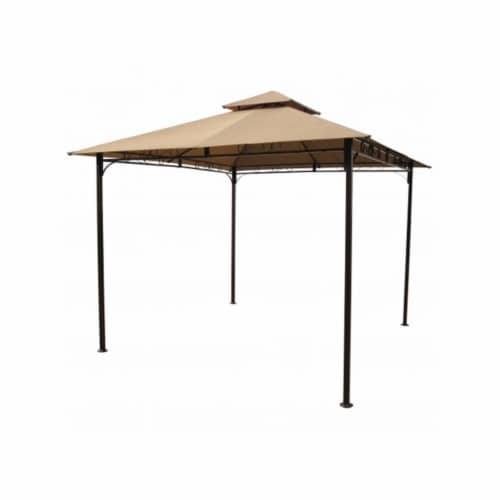 Square Vented Canopy Gazebo, Khaki Perspective: front