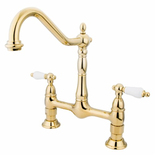 Double Handle 8 in. Center Bridge Kitchen Faucet Perspective: front