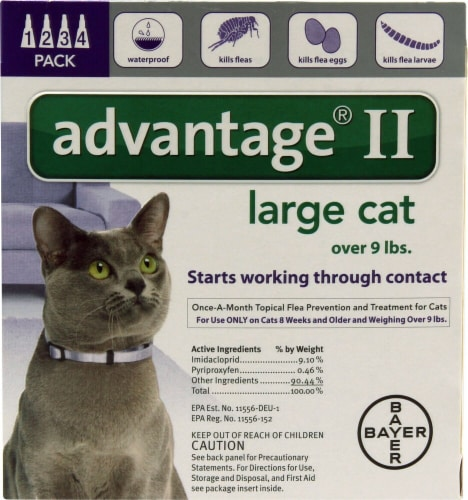 Advantage  II Purple 4-Month Flea Control for Large Cats Over 9 lbs Perspective: front