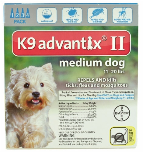 Advantix  II K9 Flea Tick & Mosquito Treatment Medium Dog 11-20 lbs Perspective: front