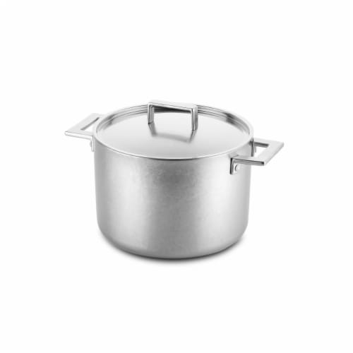 Mepra 30280124C 24 cm Deep Pot with Lid Attiva Pewter Perspective: front