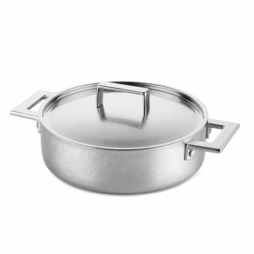 Mepra 30283128C 28 cm Saute Pan 2 Handles with Lid Attiva Pewter Perspective: front