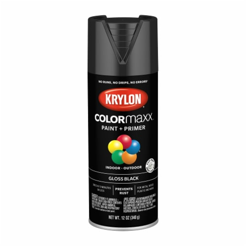 Krylon® ColorMaxx Gloss Black Indoor/Outdoor Spray Paint and Primer Perspective: front