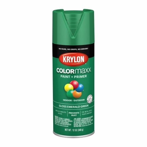 Krylon® Colormaxx Gloss Emerald Green Spray Paint & Primer Perspective: front