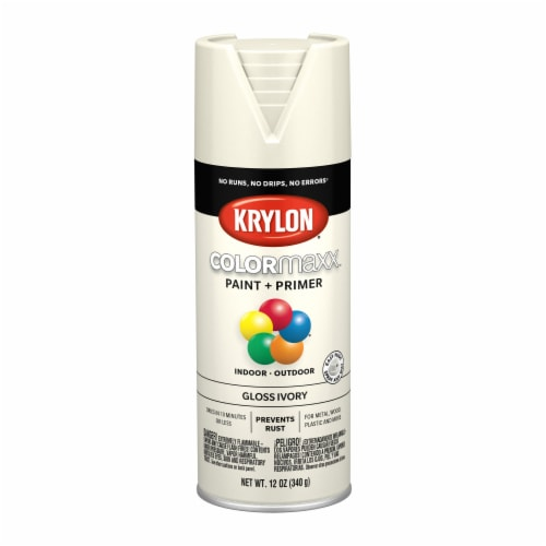 Krylon® Colormaxx Gloss Ivory Spray Paint & Primer Perspective: front