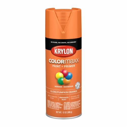 Krylon® Colormaxx Gloss Pumpkin Orange Spray Paint & Primer Perspective: front