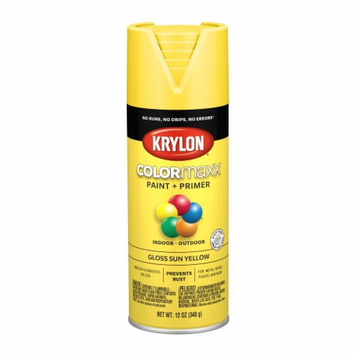 Krylon® ColorMaxx Gloss Sun Yellow Indoor/Outdoor Spray Paint and Primer Perspective: front