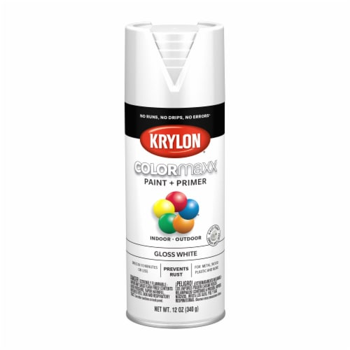 Krylon® ColorMaxx Gloss White Indoor/Outdoor Spray Paint and Primer Perspective: front