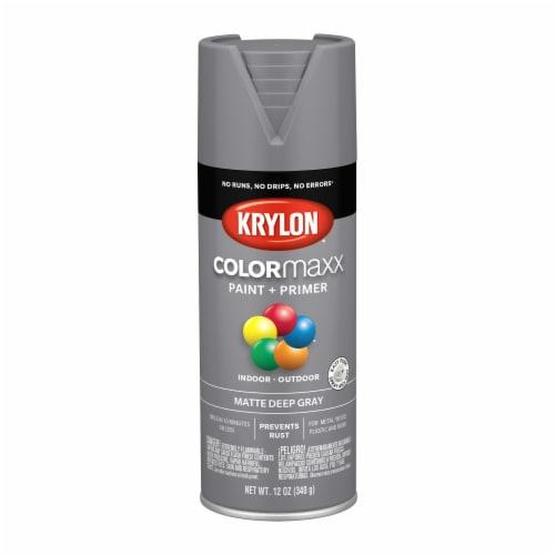 Krylon® ColorMaxx Matte Deep Gray Indoor/Outdoor Paint and Primer Perspective: front