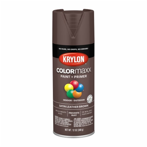 Krylon® Colormaxx Satin Leather Brown Paint + Primer Spray Paint Perspective: front
