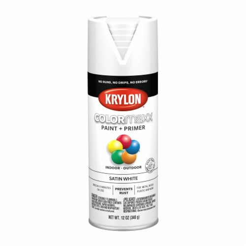 Krylon® ColorMaxx Satin White Indoor/Outdoor Spray Paint and Primer Perspective: front