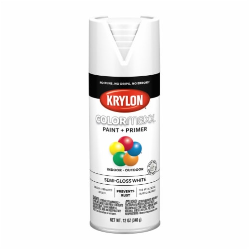 Krylon® ColorMaxx Indoor/Outdoor Paint and Primer - Semi-Gloss White Perspective: front