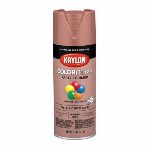 Krylon® ColorMaxx Metallic Rose Gold Indoor/Outdoor Paint and Primer Perspective: front
