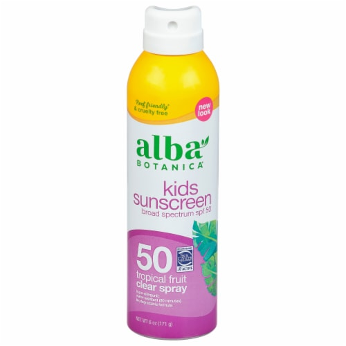 Alba Botanica Kids Tropical Fruit Clear Spray Sunscreen SPF 50 Perspective: front