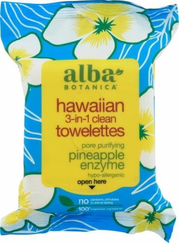 Alba Botanica Hawaiian Pineapple Enzyme 3-In-1 Clean Towellettes Perspective: front