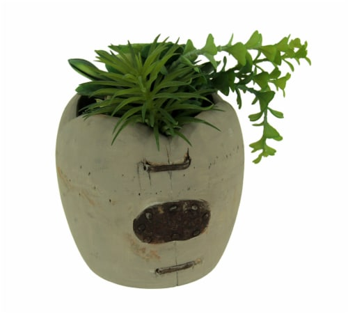 Artificial Succulents in Rustic Apple Shaped Wood Planter Perspective: front