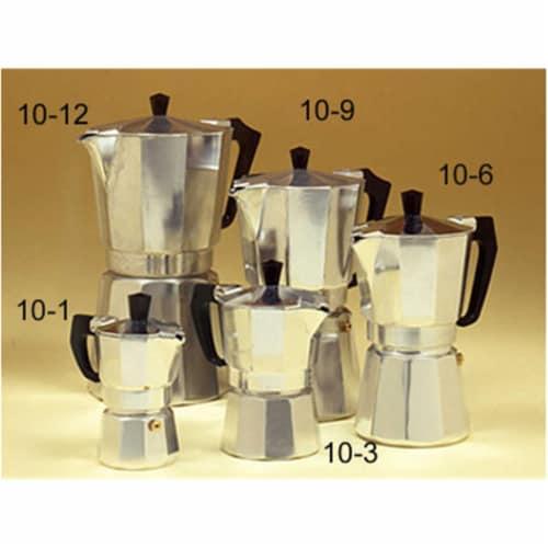 ALUMINUM STOVE TOP 6-CUP 10-6 Espresso Maker Perspective: front