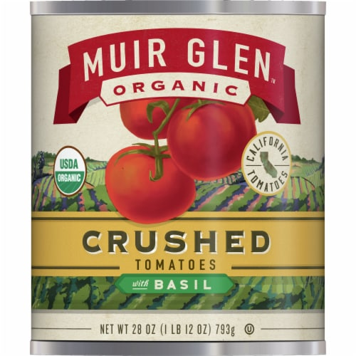 Muir Glen Organic Crushed Tomatoes with Basil Perspective: front