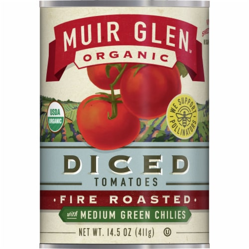 Muir Glen Organic Fire Roasted with Medium Green Chilies Diced Tomatoes Perspective: front