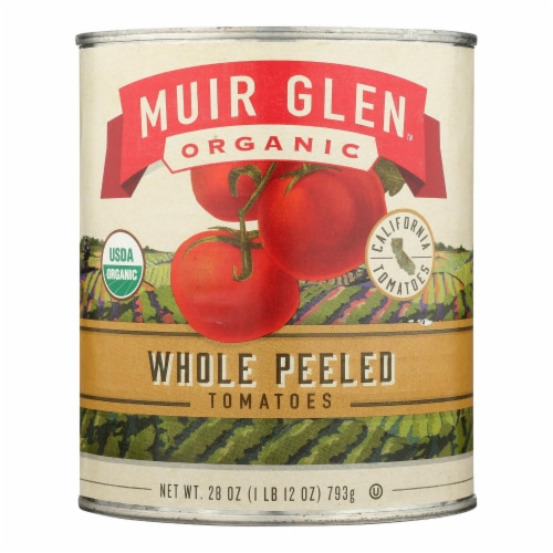 Muir Glen Organic Whole Peeled Tomatoes - Case of 12 - 28 oz. Perspective: front