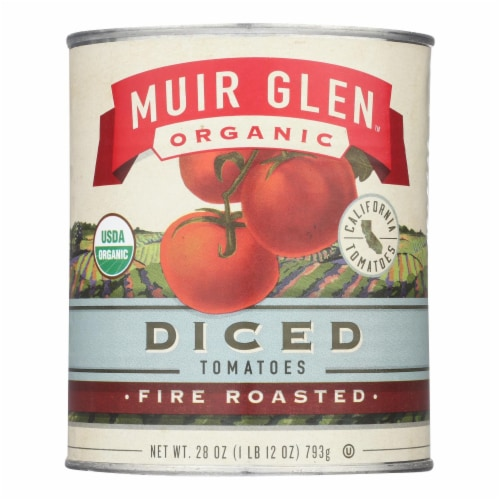 Muir Glen Organic Diced Fire Roasted Tomato - Tomato - Case of 12 - 28 oz. Perspective: front