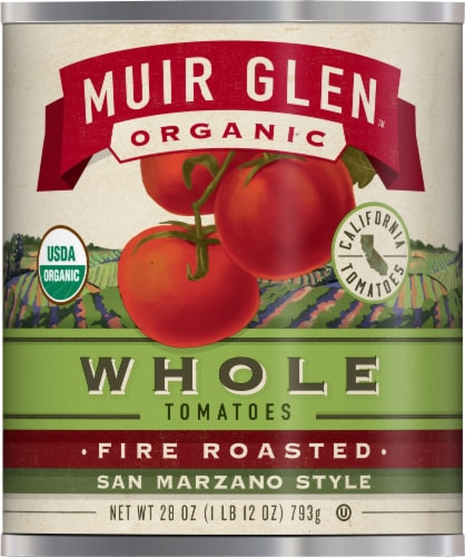 Muir Glen Organic Fire Roasted San Marzano Style Whole Tomatoes Perspective: front