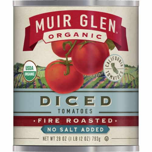 Muir Glen Organic No Salt Added Fire Roasted Diced Tomatoes Perspective: front
