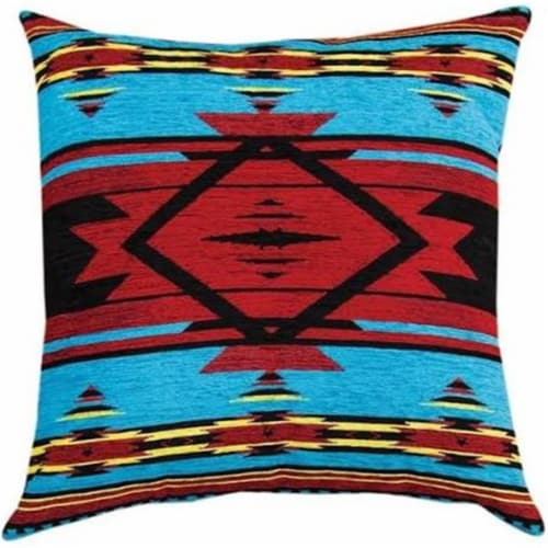 Manual Woodworkers & Weavers APFB20 20 x 20 in. Southwest Flame Tapestry Throw Pillow, Blue Perspective: front