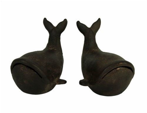 Rustic Brown Cast Iron Stubby Whale Bookends Perspective: front