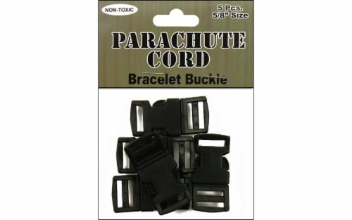 Pepperell Black Parachute Cord Bracelet Buckle Perspective: front