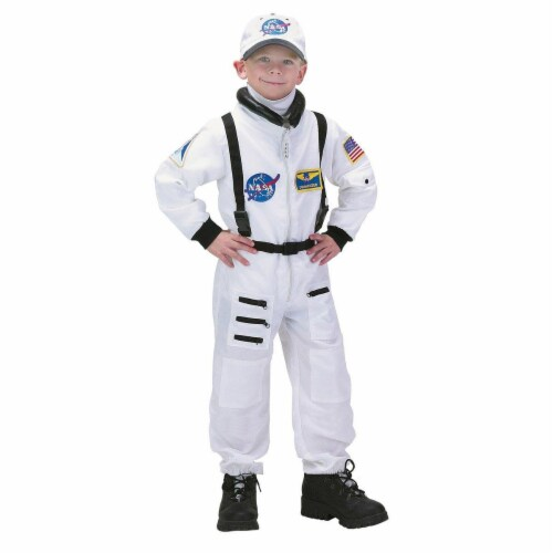 Charades Costumes 271555 NASA Astronaut White Deluxe Child Costume - Medium Perspective: front