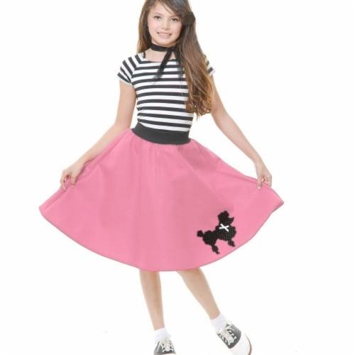 Charades 282129 Poodle Skirt Poodle Skirt Child Costume, Pink - Medium Perspective: front