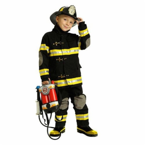 Charades Costumes 271552 Firefighter Black Deluxe Child Costume - Extra Small Perspective: front