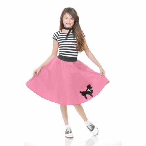 Charades 282130 Poodle Skirt Child Costume, Pink - Small Perspective: front